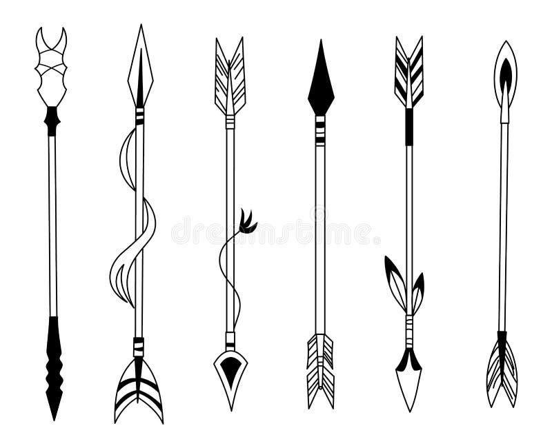 Flèche tirée par la main de plume, plumes tribales sur l'indicateur et arc décoratif de boho, pointe de flèche indienne de plume  illustration de vecteur