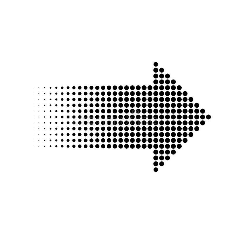 Flèche tramée de points de gradient, élément graphique, illustration de vecteur illustration stock