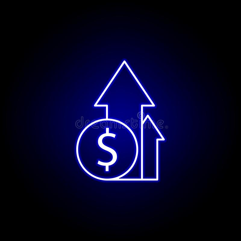 flèche vers le haut d'icône du dollar dans le style au néon ?l?ment d'illustration de finances Des signes et l'ic?ne de symboles  illustration libre de droits