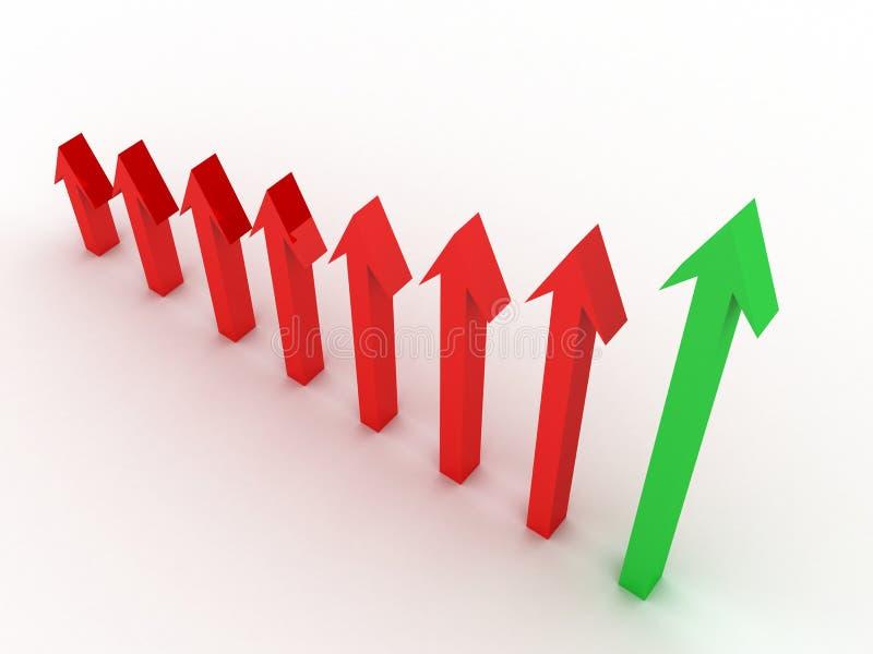 Flèche verte indiquant le bénéfice au-dessus de la perte illustration libre de droits
