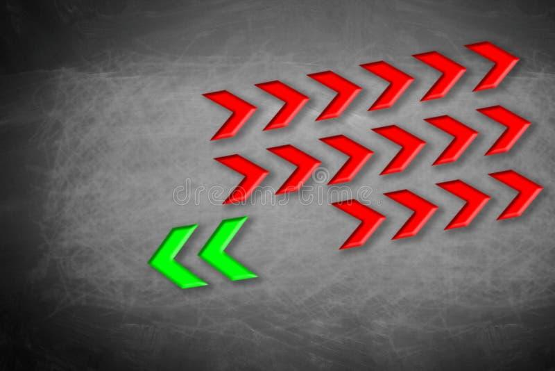 Flèche verte se dirigeant dans la direction opposée images stock