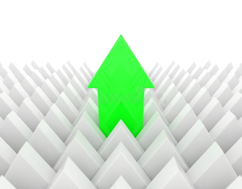 Flèche verte se tenant  illustration de vecteur