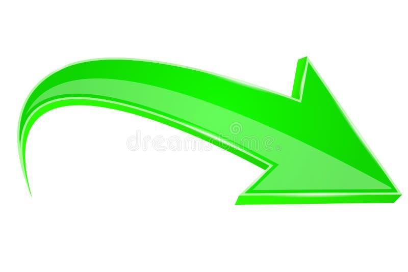 Flèche verte signe 3D illustration libre de droits