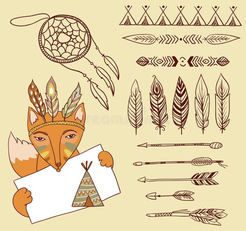 Flèches, éléments indiens illustration stock