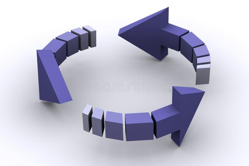 flèches 3d dans le cycle illustration de vecteur