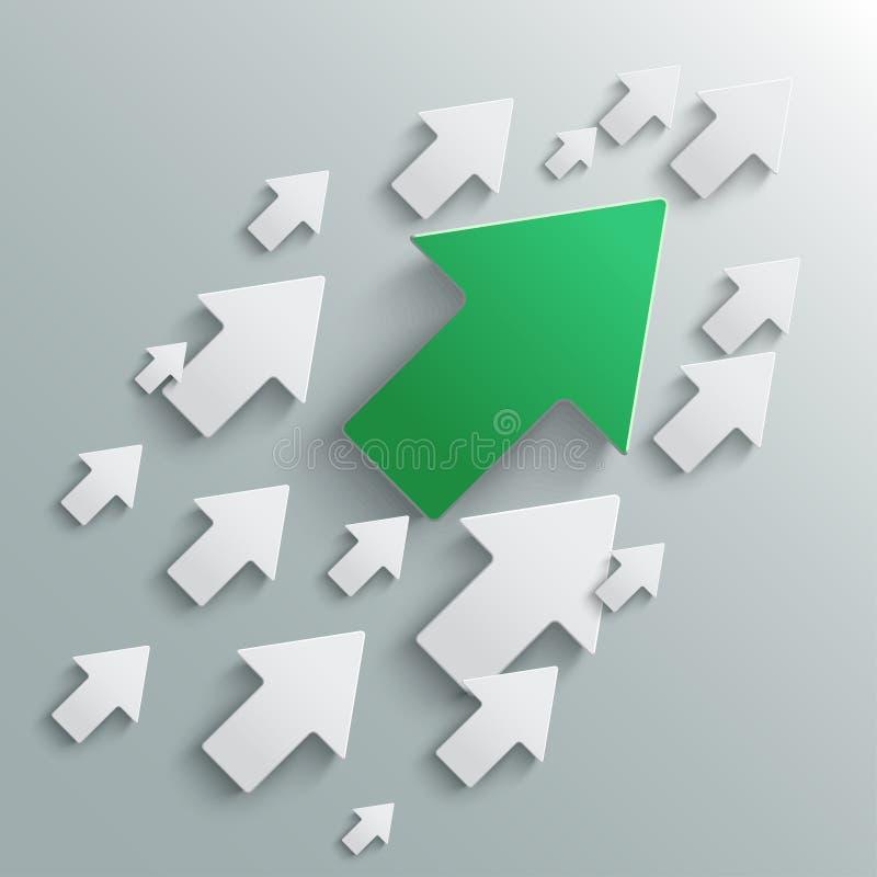 Flèches blanches de groupe et un ascendant dirigé vert - vecteur illustration de vecteur