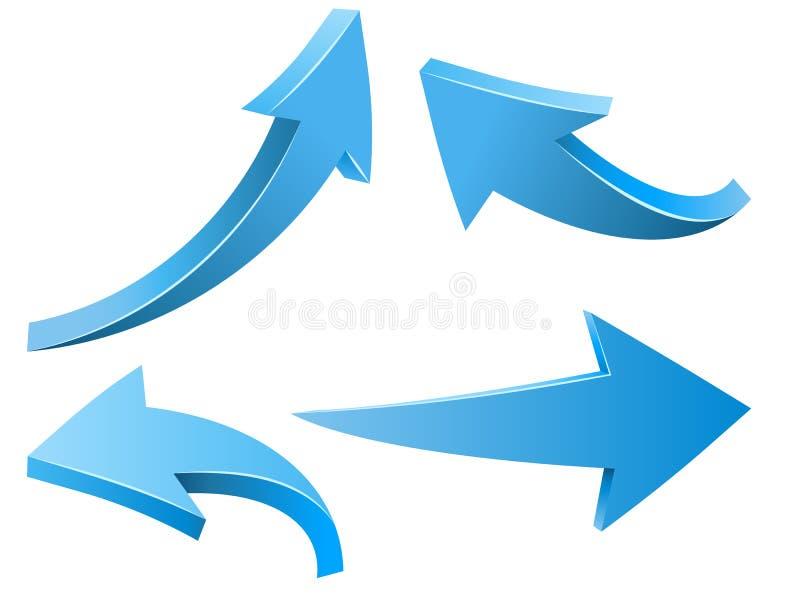 Flèches bleues incurvées par résumé illustration stock