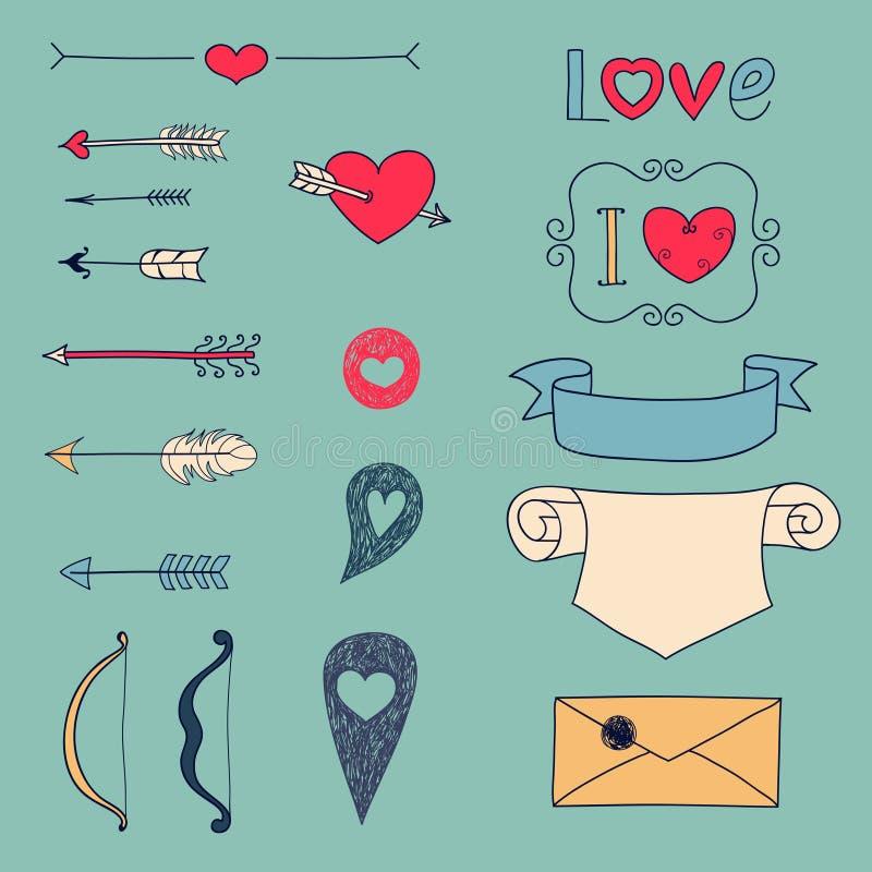 Flèches, coeurs et autre éléments de conception illustration stock