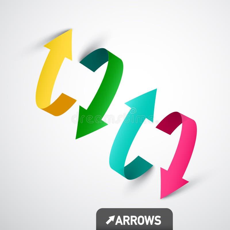 Flèches colorées du vecteur 3d Symboles de flèche illustration stock