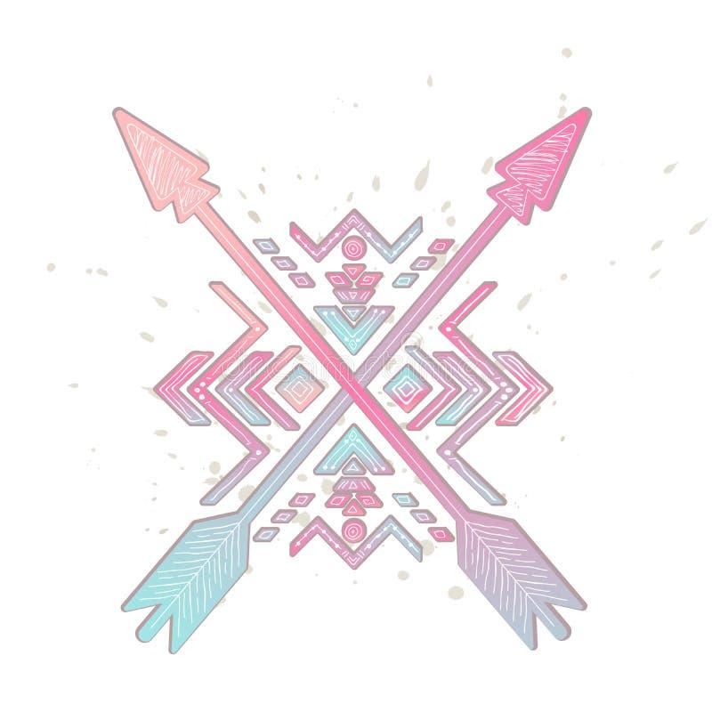 Flèches croisées avec l'ornement tribal aztèque Illustration de vecteur illustration libre de droits