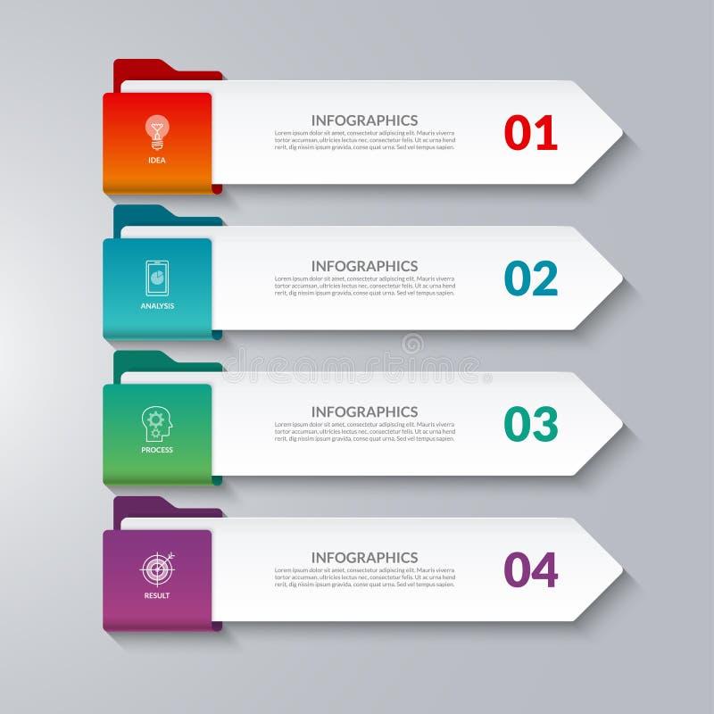 Flèches d'Infographic 4 options, étapes, pièces illustration libre de droits