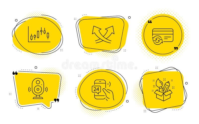 Flèches d'intersection, carte de changement et ensemble d'icônes du service 24h Graphique de haut-parleur, de chandelier et signe illustration de vecteur