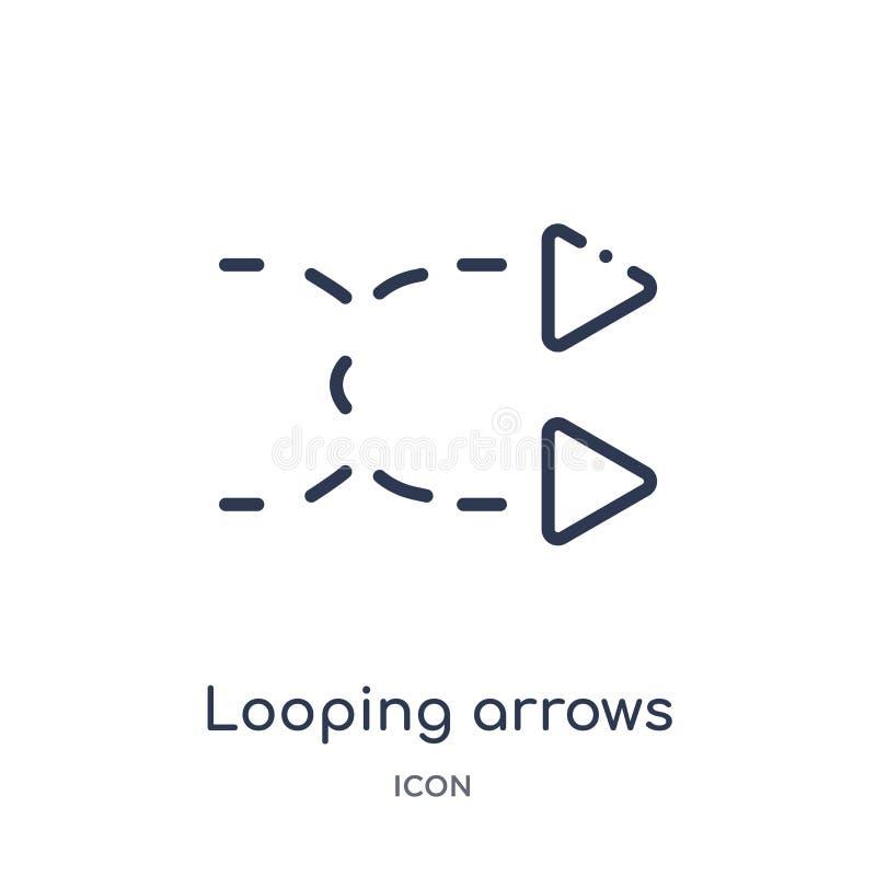 flèches de bouclage avec l'icône cassée de la collection d'ensemble d'interface utilisateurs Ligne mince flèches de bouclage avec illustration stock
