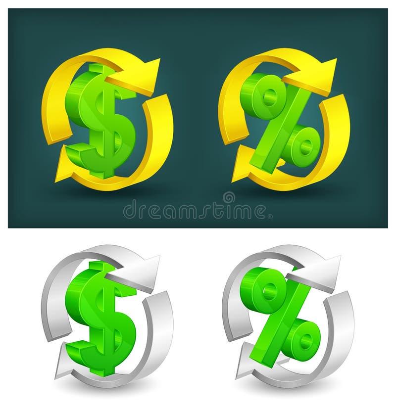Flèches de cercle avec le dollar et les pour cent illustration de vecteur