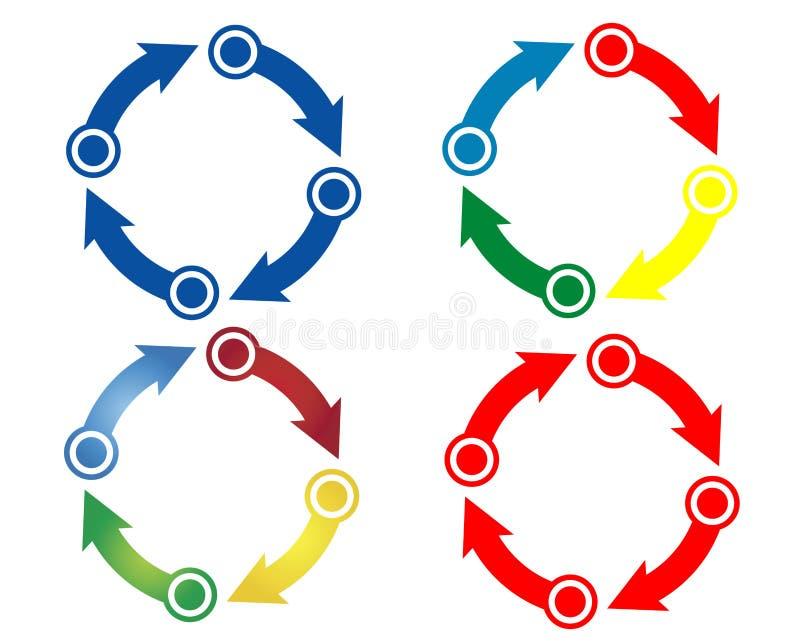 Flèches de cercle de couleur illustration libre de droits