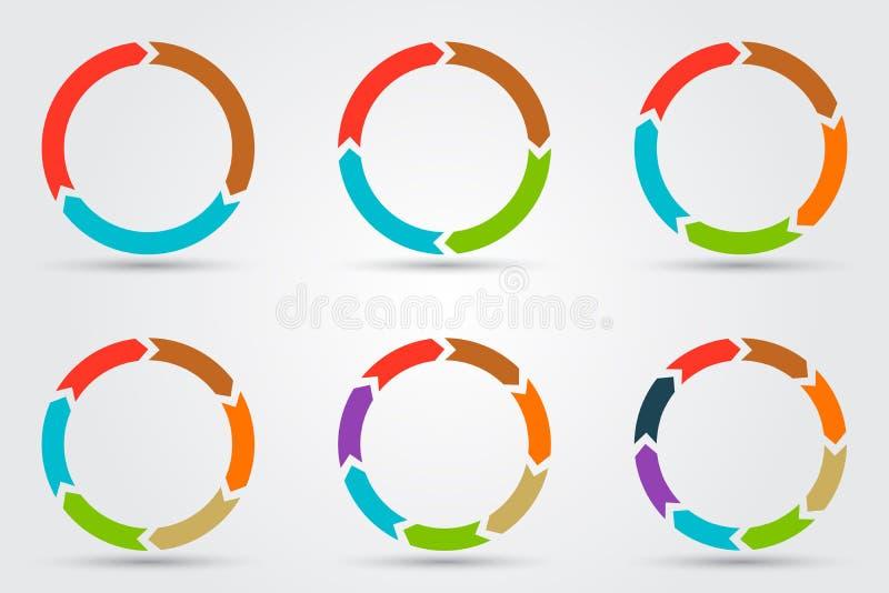 Flèches de cercle de vecteur pour infographic illustration libre de droits