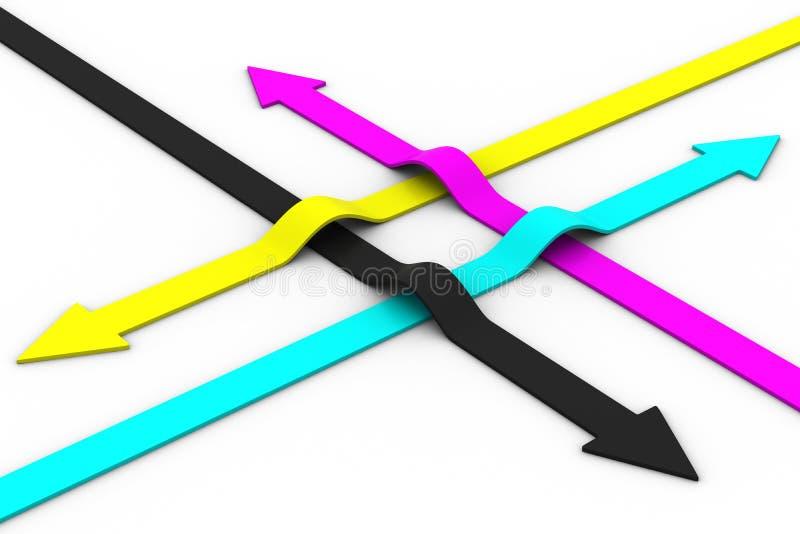 Flèches de couleur sur le fond blanc. CMYK illustration libre de droits