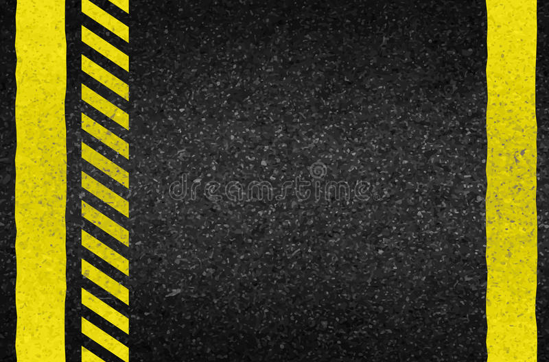 Flèches de danger sur la texture d'asphalte Illustration illustration libre de droits