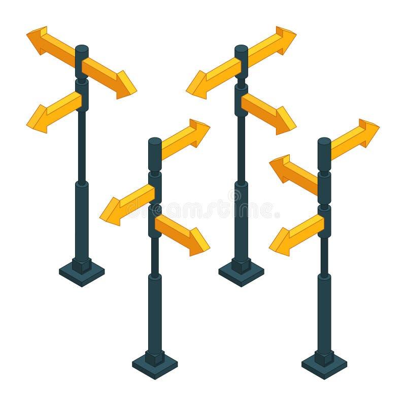 Flèches de direction de panneaux routiers sur des carrefours Photos isométriques illustration de vecteur