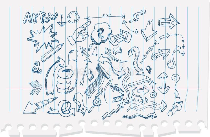 Flèches de griffonnage illustration stock