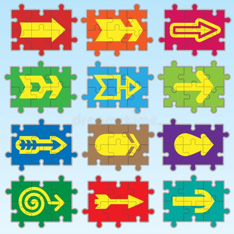 Flèches de puzzle réglées illustration de vecteur