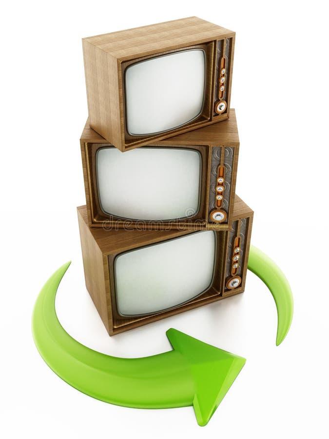 Flèches de rotation vertes autour des télévisions de vintage illustration 3D illustration libre de droits