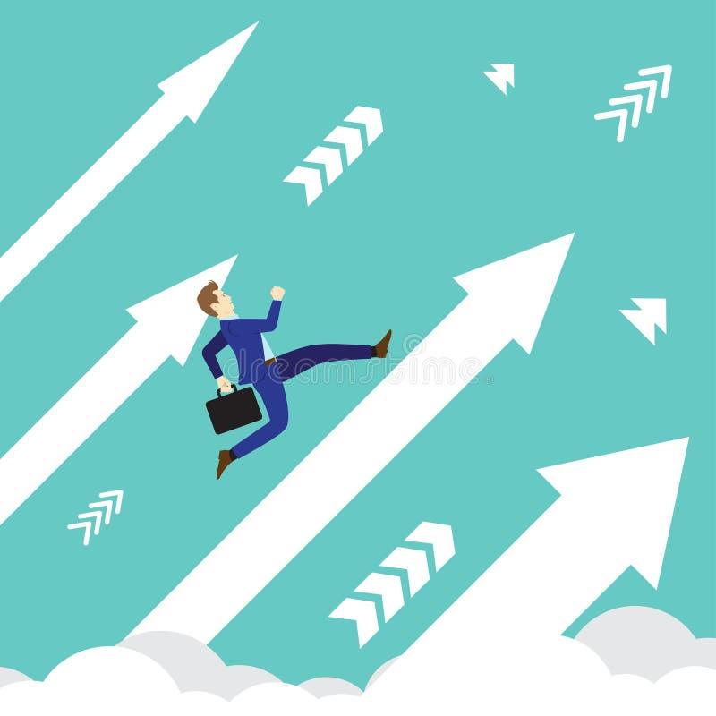 Flèches de Running Upward On d'homme d'affaires illustration libre de droits