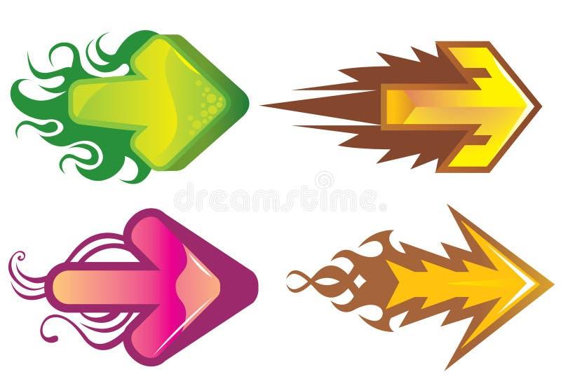Flèches directionnelles colorées illustration stock