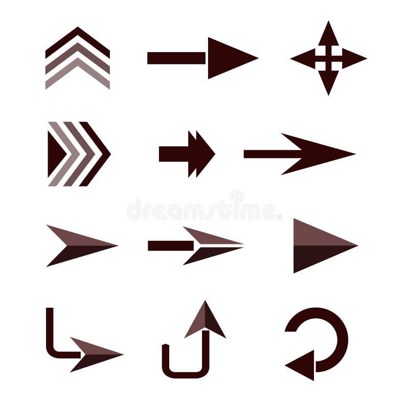 Flèches directionnelles sur un vecteur blanc d'isolat de fond image stock