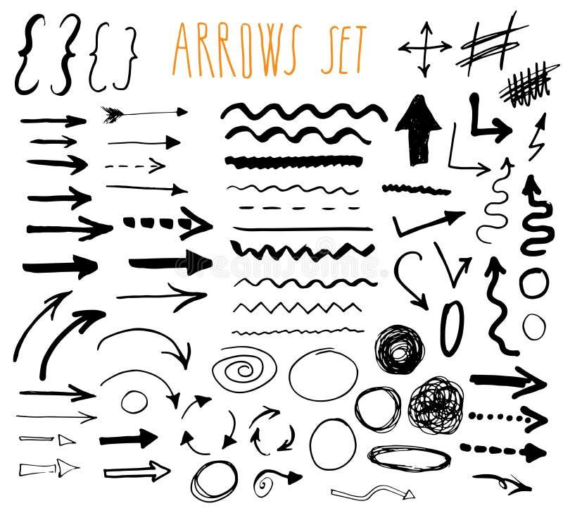 Flèches, diviseurs et frontières, illustration tirée par la main de vecteur d'ensemble d'éléments illustration stock