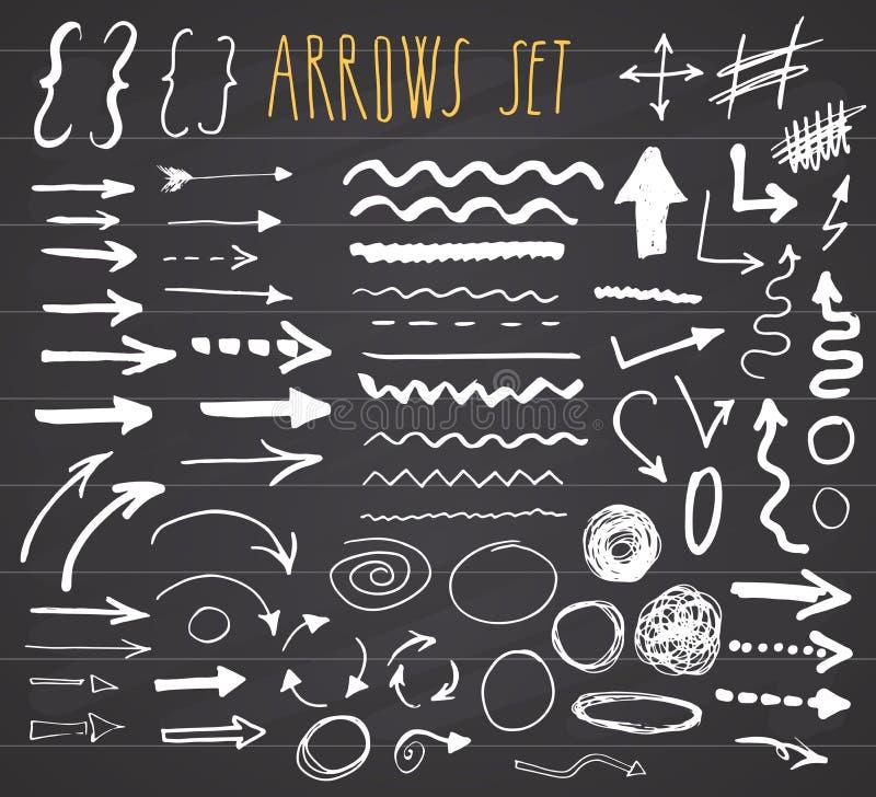 Flèches, diviseurs et frontières, illustration tirée par la main de vecteur d'ensemble d'éléments sur le fond de tableau illustration de vecteur