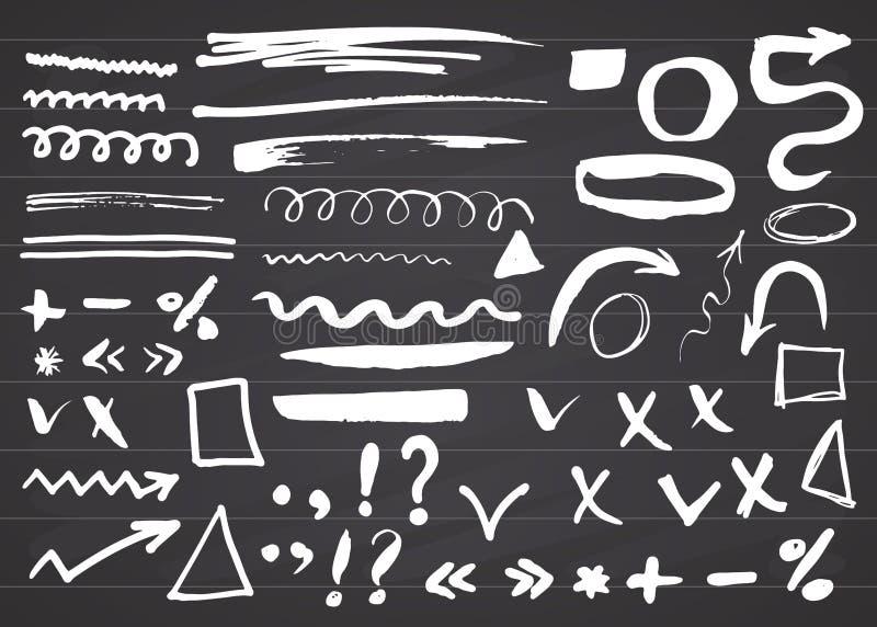 Flèches, diviseurs et frontières, illustration tirée par la main de vecteur d'ensemble d'éléments sur le fond de tableau illustration stock
