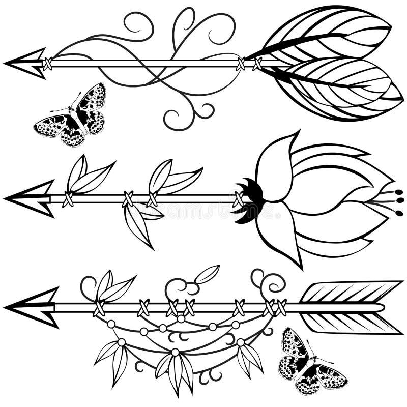Flèches en bois illustration stock