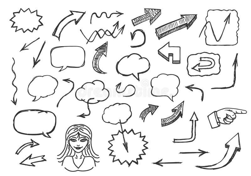 Flèches et bulles tirées par la main de la parole illustration de vecteur
