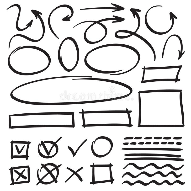 Flèches et cadres de croquis Cercle tiré par la main, cadre ovale et griffonnages de flèche Les indicateurs et les lignes de band illustration stock