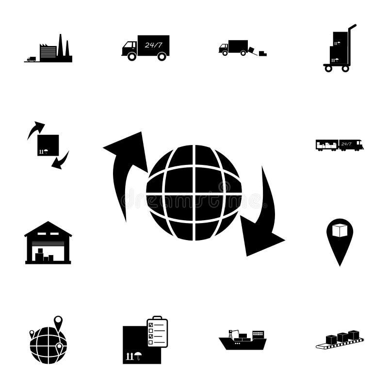 flèches et icône circulaires de globe Ensemble détaillé d'icônes logistiques Icône de la meilleure qualité de conception graphiqu illustration de vecteur
