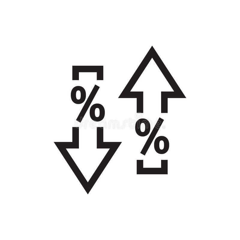 Flèches et vers le bas avec le symbole de pour cent - conception d'icône de noir de Web Signe de concept de marché des changes Cr image libre de droits