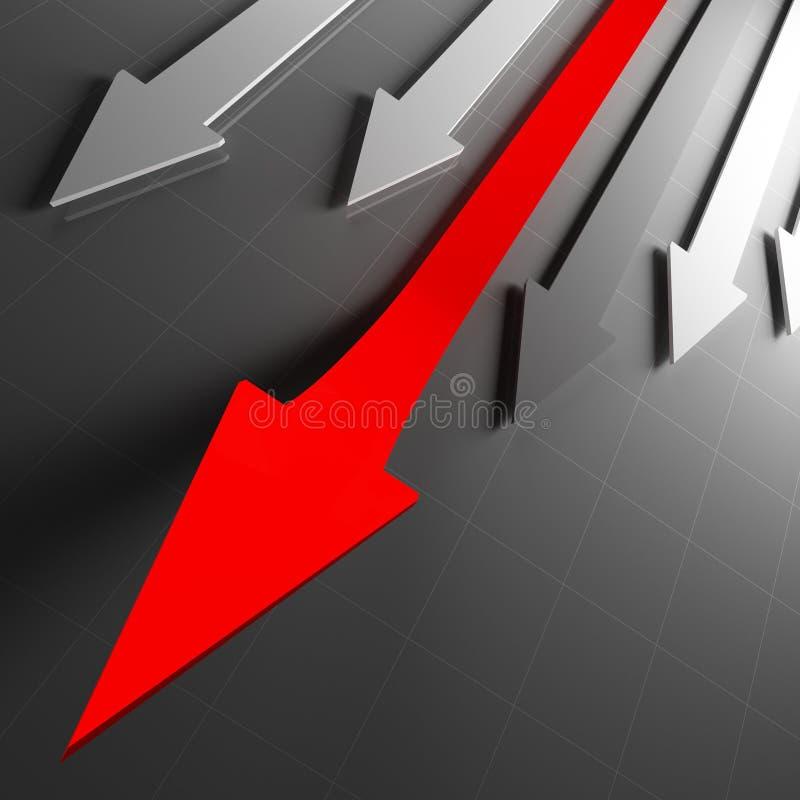Flèches financières rouges illustration stock