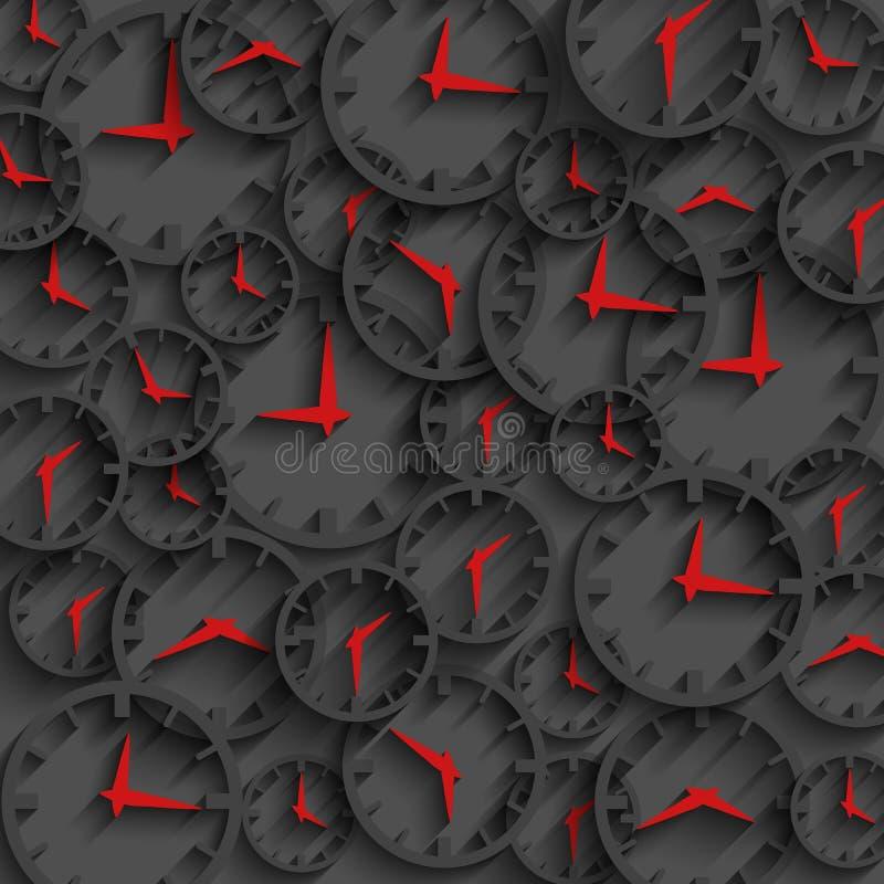 flèches foncées de rouge de fond, de minute et d'heure de concept de temps d'abrégé sur l'horloge 3D illustration de vecteur
