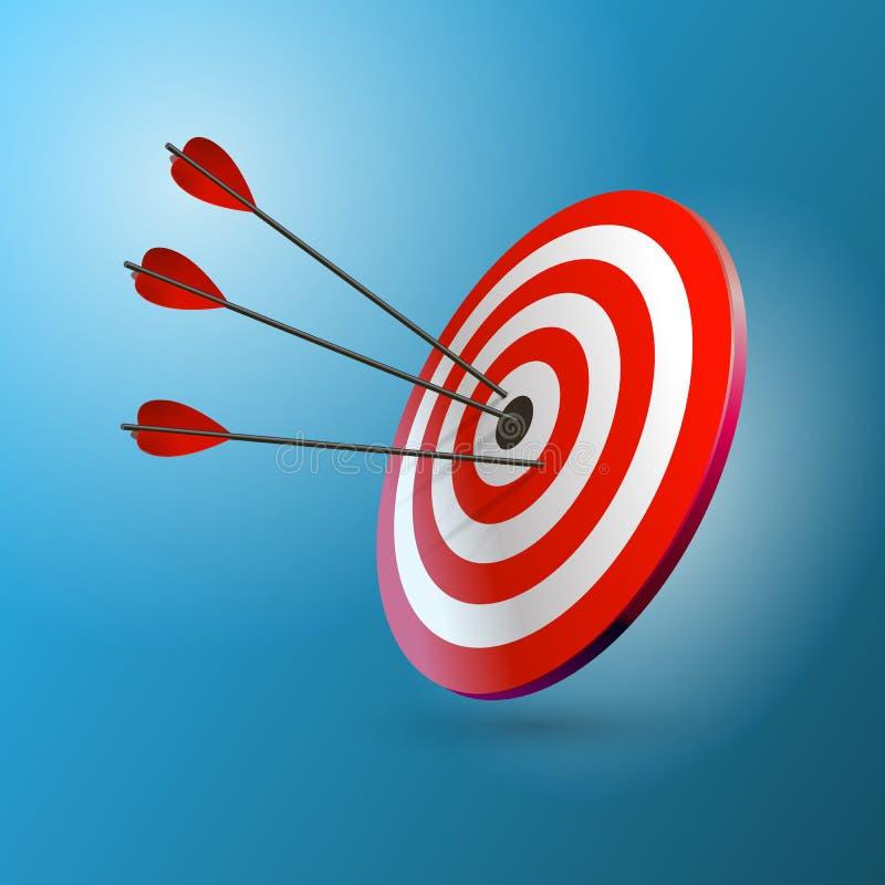 Flèches frappant une cible Une cible et trois flèches Concept de but d'affaires illustration stock