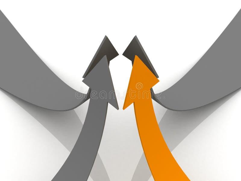 Flèches grises avec l'amorce orange vers le haut du concept de travail d'équipe illustration libre de droits