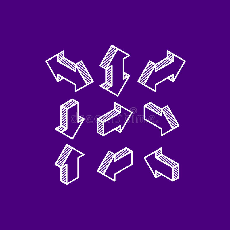 flèches isométriques de vecteur illustration stock