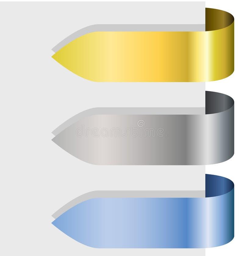 Flèches métalliques blanc de bande illustration stock