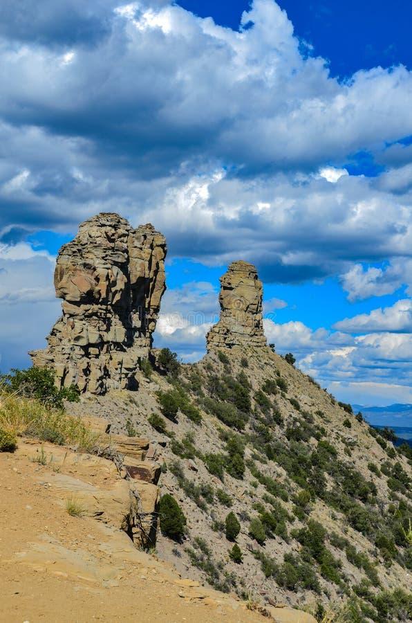 Flèches - monument national de roche de cheminée - le Colorado images libres de droits