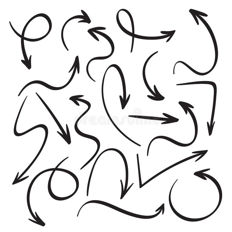 Flèches noires de bande dessinée Croquis tiré par la main de flèche Remous, retour de retour et icônes de vecteur d'indicateur de illustration de vecteur