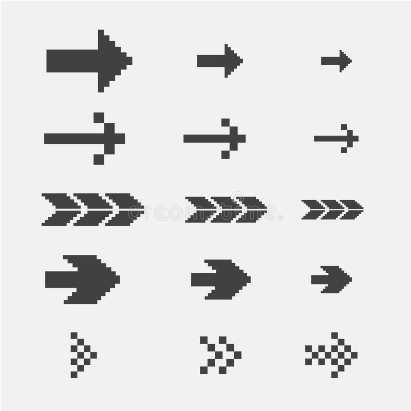 Flèches noires de pixel illustration de vecteur