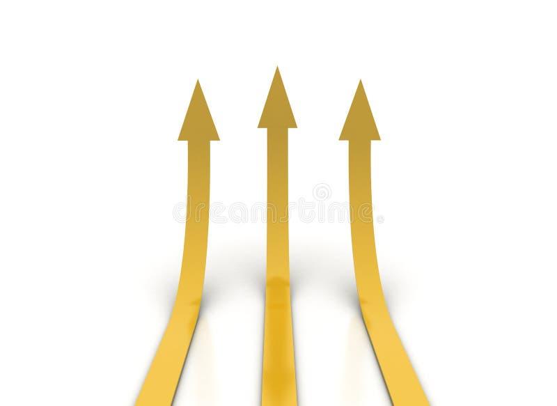 Flèches oranges d'or montant illustration libre de droits