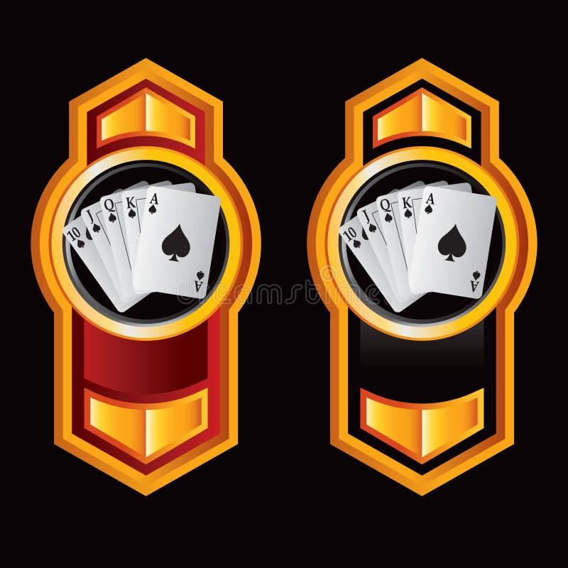 Flèches oranges verticales avec des cartes de jeu illustration stock