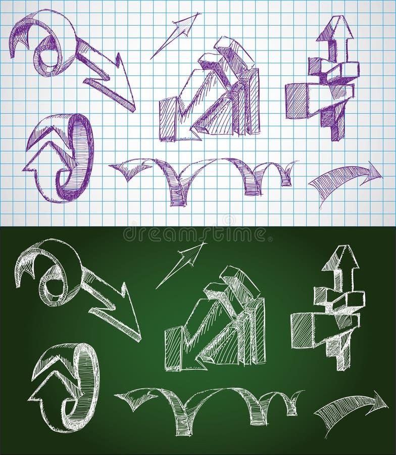 Flèches peu précises tirées par la main illustration stock