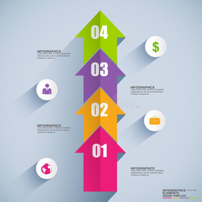 Flèches plates avec le calibre d'infographics de données illustration stock